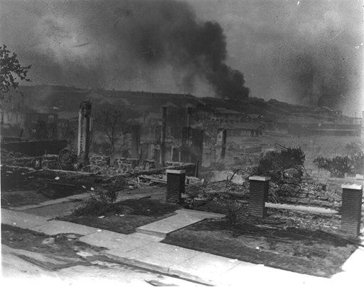 Smoldering ruins of African American's homes following race riots - Tulsa Okla 1921