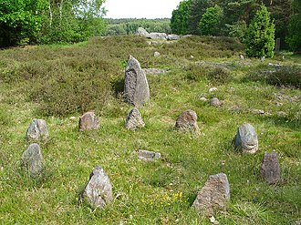 Necropolis of Soderstorf - Megaliths and small stelae surround the graves in the urnfield cemetery