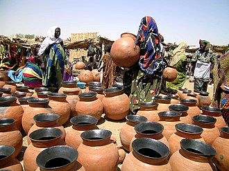 Songhai people - A Gorom-Gorom market selling Songhai pottery.