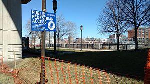 Boston Harborwalk - Harborwalk sign along the South Bay Harbor Trail