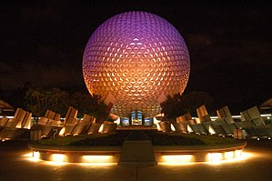 Spaceship Earth (Epcot) - Spaceship Earth at night.