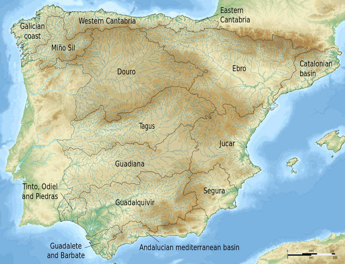 The largest rivers of Spain: the Tagus, the Ebro and the Guadalquivir