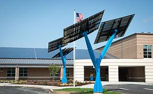"Solar tree - Spotlight Solar product ""Lift"" at net-zero school in NC, Sandy Grove Middle School"