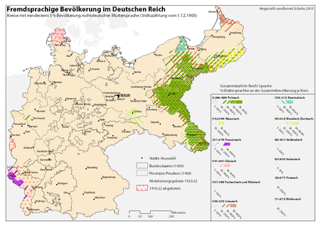 Percentage of linguistic minorities of the German Empire in 1900 by Kreis Sprachen Deutsches Reich 1900.png
