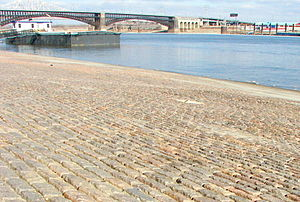St. Francois Mountains - Granite from this region was used for cobblestones on the St. Louis wharf and in the piers of the Eads Bridge (background).