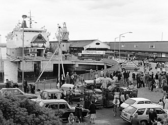 Carlisle Pier - July 1980, the last year trains served the pier.  The pier had been modified to accept a car ferry by this time