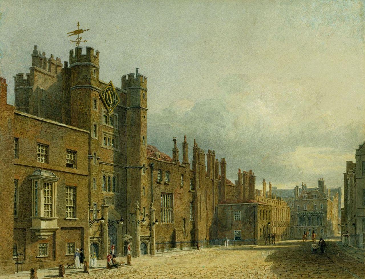 Сент - Джеймсский дворец, Северный фасад, Чарльз Уайлд, 1819- royal coll 922161 257088 ORI 0.jpg