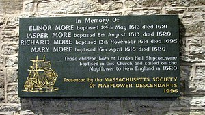 Richard More (Mayflower passenger) - Mayflower plaque in St. James Church in Shipton, Shropshire commemorating the More children baptism. courtesy of Phil Revell