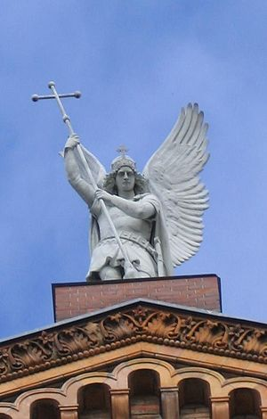 St. Michael's Church, Berlin - Statue of Archangel Michael by August Kiss