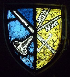 Chertsey Abbey - Medieval stained glass with the arms of the abbey, a sword and the keys of St Peter