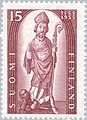 Stamp of Finland - 1955 - Colnect 46200 - Bishop Henrik his Murderer Lalli at his Feet.jpeg