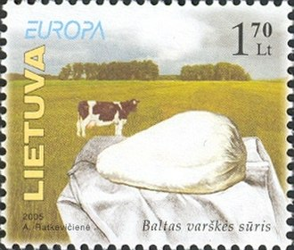 "Quark (dairy product) - Lithuanian stamp depicting baltas varškės sūris, ""white curd cheese"""