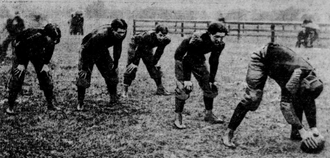 1900 Stanford football team - Stanford center and backs preparing for the California game in 1900