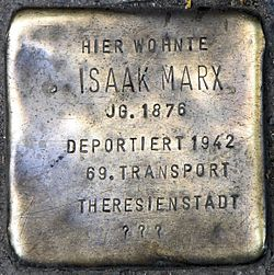 Photo of Isaak Marx brass plaque