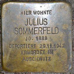 Photo of Julius Sommerfeld brass plaque