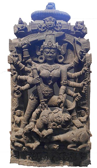 Devi-Bhagavata Purana - Stone sculpture of Devi Durga, Indian Museum, Kolkata