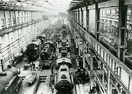 Engine repair shop of the Stratford Railway Works, 1921 Stratford Railway Works.jpg