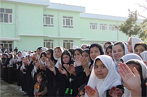 Fall of Mazar-i-Sharif - Students at the 2002 reopening of the Sultan Razia school after its destruction