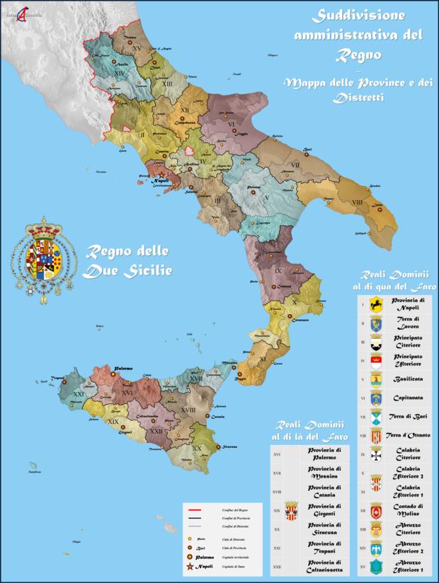 Suddivisione amministrativa del regno borbonico.