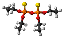Ball-and-stick model of the sulfotep molecule