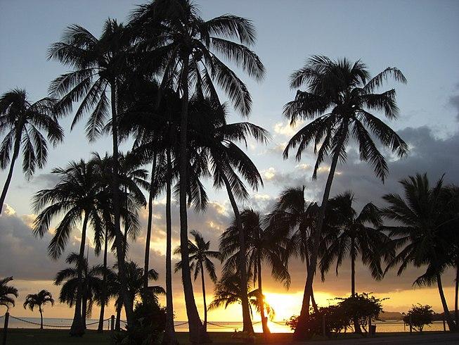 Sunset next to Waikiki Beach, Oahu, Hawai, USA1