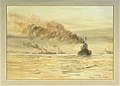 Surrendered German battleships in the Firth of Forth, probably at dawn RMG PW1875.jpg