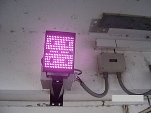 Facial recognition system - Close-up of the infrared illuminator. The light is invisible to the human eye, but creates a day-like environment for the surveillance cameras.