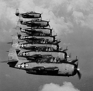 Inland Fisher Guide Plant (New Jersey) - Seven Grumman TBM-3D Avenger bombers of night torpedo squadron VT(N)-90 flying in formation in January 1945.