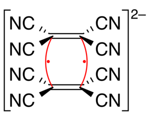 Four-center two-electron bond - Image: TCNE dianion delocalization