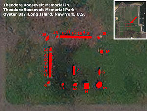 Theodore Roosevelt Monument Assemblage - Map of Theodore Roosevelt Memorial in Theodore Roosevelt Memorial Park, Oyster Bay, NY