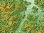 Takeda Castle, Location, Relief Map, SRTM-1.jpg