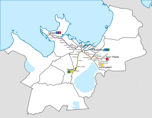 Tallinna Linnatranspordi AS - Map of tram routes in Tallinn