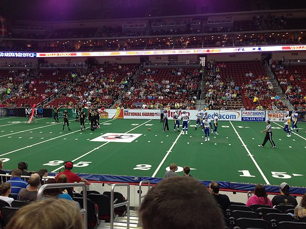 The Iowa Barnstormers playing against the Tampa Bay Storm during the 2013 season.
