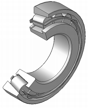 Tapered roller bearing - Cutaway view of a tapered roller bearing