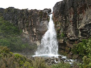 Taranaki Falls is located just off the Tongari...