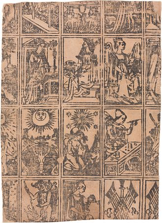 Tarot of Marseilles - Uncut sheet from Milan, c. 1500