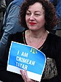 Tatar Woman at May 18 Commemoration of Crimean Tatar Deportations-Genocide - Maidan Square - Kiev - Ukraine - 02 (27006194382).jpg