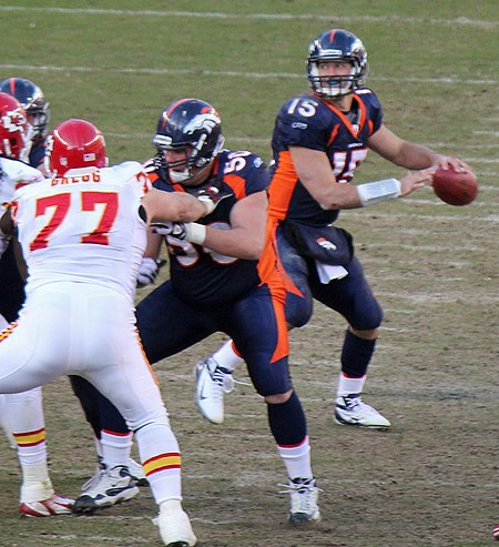 Tebow playing against the Kansas City Chiefs in January 2012 Tebow vs Chiefs 2012.jpg