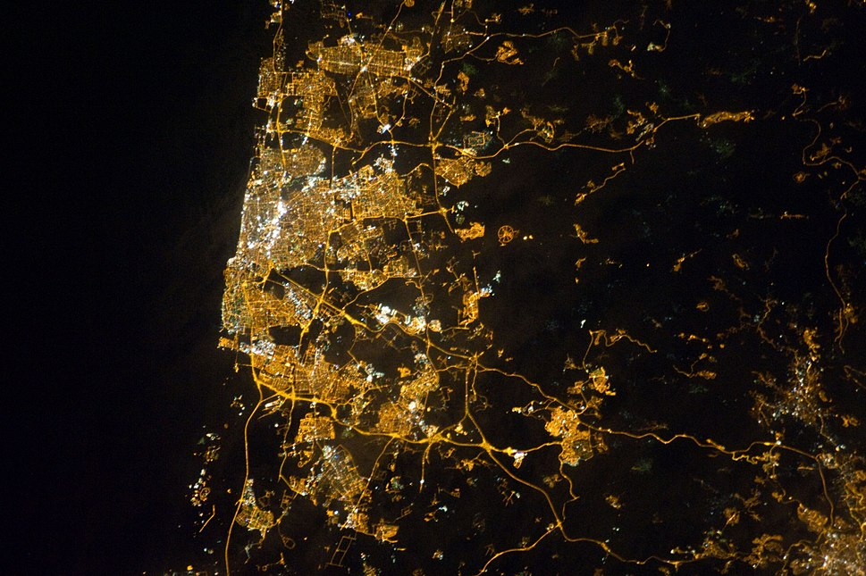 Tel Aviv Area at Night (ISS026-E-28912)