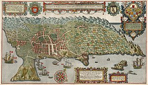 Jan Huyghen van Linschoten - The island of Terceira, Azores, in a hand-colored engraving in the Itinerario.