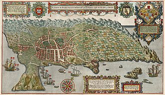 Angra do Heroísmo - 1595 Engraving by Jan Huygen van Linschoten, showing the extensive cultivated lands of the Achada Plain and the nucleus of the village of Angra