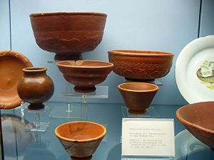 "Hans Dragendorff - Terra sigillata bowls (the red gloss ones). See image file for their ""Dragendorff numbers""."