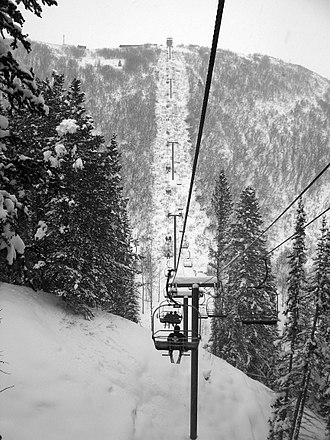 Chairlift - The Short Cut fixed triple chairlift at Park City Mountain Resort in Park City, Utah
