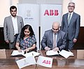 The Adviser (Industry), NITI Aayog, Ms. Anna Roy and the MD, ABB India, Shri Sanjeev Sharma signing a Statement of Intent (SoI) between NITI Aayog and ABB India to support the Indian government realize its ambitious vision.JPG
