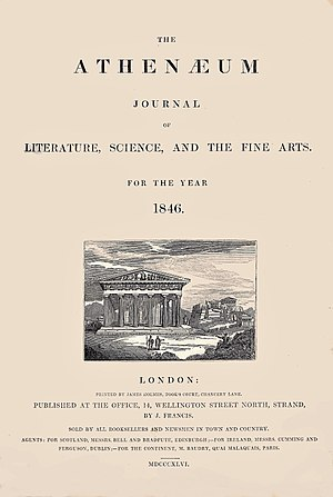 The Athenaeum (British magazine) - The cover of the 1846 issue of The Athenaeum