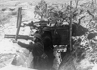 12th Armoured Infantry Brigade (United Kingdom) - Men of the 2nd Battalion, Royal Fusiliers in a trench in front of the Maginot Line, 3 January 1940.