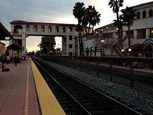Santa Ana Regional Transportation Center - Pedestrian bridge linking northbound Track 1 to The Depot and Track 2.