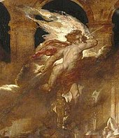 Angel holding a spear and surrounded by smoke