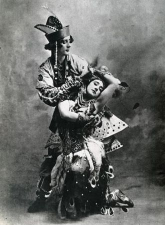 The Firebird - Tamara Karsavina as the Firebird and Michel Fokine as prince Ivan in the 1910 Ballets Russes production of the ballet.