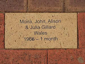 Julia Gillard - A plaque dedicated to the Gillard family, who stayed at the Pennington Hostel (now Pennington Gardens Reserve) in 1966